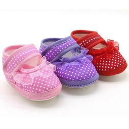 3-12M Newborn Baby Girl Soft Prewalker Kid Casual Dot Lace C