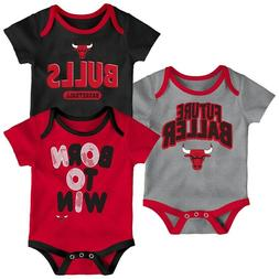 3 NBA Baby Boys Chicago Bulls Bodysuits Size 24 Months, Bask