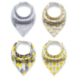 4 Pack Baby Bandana Drool Bibs for Drooling and Teething Sun