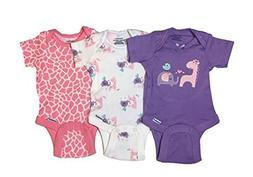 Gerber Baby Girls Onesies Bodysuits 3 Pack Purple Animals 3-