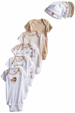 Gerber Unisex-Baby 10-Piece Newborn Bear Onesies and Cap Bun