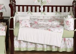 Sweet Jojo Designs 9-Piece Riley's Roses Pink and Sage Green