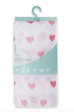 Aden & Anais Muslin Swaddle Blanket NWT Pink Hearts Motif  B