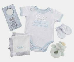 Adorable Baby Boy Little Prince 6pc Gift Basket, 0-6M For Ba