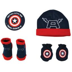 Marvel Avengers Captain America Hat, Mitts and Booties Gift