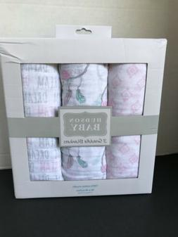 Hudson Baby 3 Pc Muslin Swaddle Blankets