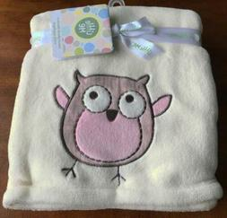 LITTLE ME BABY BLANKET SOFT PLUSH IVORY PINK OWL Layette Swa