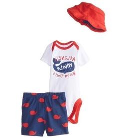 Gerber Baby Boy 3-Piece Whale Red/Blue Onesies Cap & Pants S