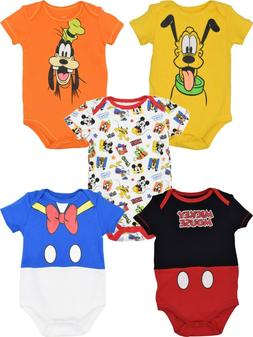 Disney Baby Boy Girl 5 Pack Bodysuits Mickey Mouse Donald Du