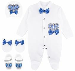 Lilax Baby Boy Jewels Crown Layette 4 Piece Gift Set 0-3 M R
