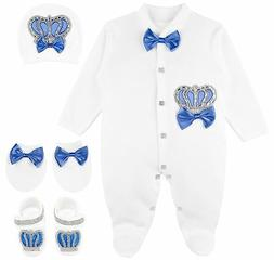 Lilax Baby Boy Jewels Crown Layette 4 Piece Gift Set 3-6 Mon