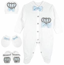 Lilax Baby Boy Jewels Crown Layette 4 Piece Gift Set 3-6 M B