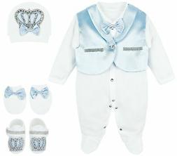 Lilax Baby Boy Jewels Crown Tuxedo Outfit Layette 5 Piece Gi