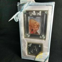Baby Boy Silver Plated Keepsake Set Picture Frame and Block