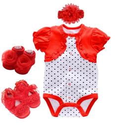 Baby clothes newborn baby girls 0-3 bodysuit+headband+shoes