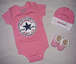 Converse Baby Girl 0-6M 0 3 6 Month Pink Infant Gift Set Out