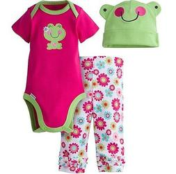 GERBER BABY GIRL 3-Piece Set Onesie, Pants and Cap Baby Show