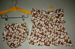 Baby girl clothes, 3-6 month, Milkbarn Organic Bamboo set/ S