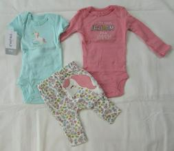Baby girl clothes, Preemie, Carter's 3 piece set/New with ta