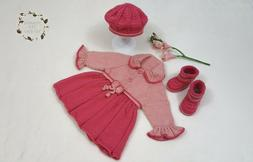 Baby Girl Clothing Outfit Dress Boots Hat Beret Gift Set Han