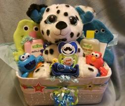 Baby Shower Gift Basket For A Baby Boy, 14 piece Gift Set, N