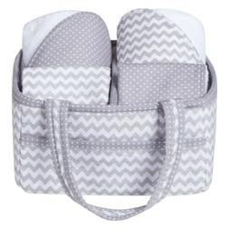 Trend Lab 5 Piece Baby Bath Gift Set, Gray Chevron