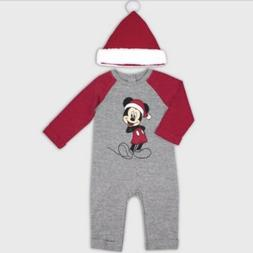 Disney Baby Boy Mickey Mouse 2-Piece Holiday Romper + Hat Si