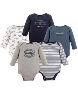 Hudson Baby Boys 5 Pack Long-Sleeve Stripes/Helicopter Fligh