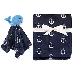 HUDSON BABY BOYS PLUSH BLANKET & SECURITY BLANKET SET 30 X 3