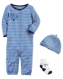 Carter's Baby Boys Take Me Home Hat Socks Coverall Gift Set
