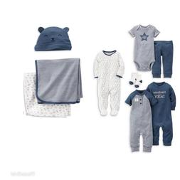 Carters 9pc Lot Baby Boy Blue Set Gift Socks Blankets Footed