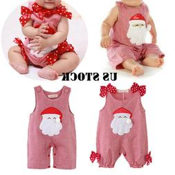 Christmas Baby Girls Boys Romper Outfit Santa Clause Bodysui