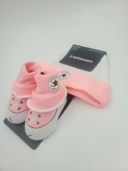 Converse Chuck Taylor Baby Girls Hat & Booties Gift Set, 0-6