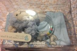 Stephan Baby Counting Sheep  Knit Cotton Bib and Plush Ring