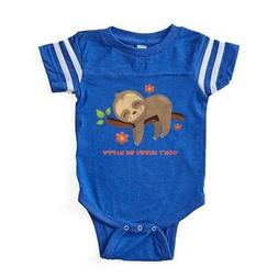 CafePress Don't Hurry Sloth Baby Football Bodysuit