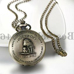 """Father and Baby Lion """"To My Son,Love Dad"""" Pocket Watch with"""