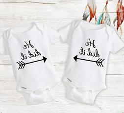 Funny Twin Matching Outfits Baby Boy Twins Onesies Newborn I