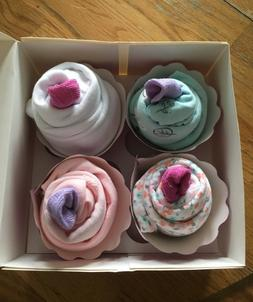 Girl Newborn Bodysuit Cupcakes For Baby Shower Or As A Gift.