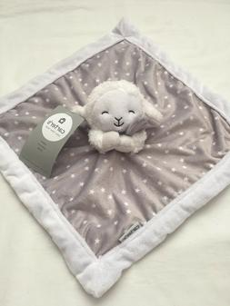Carter's Grey/White Lamb Security Blanket with Plush
