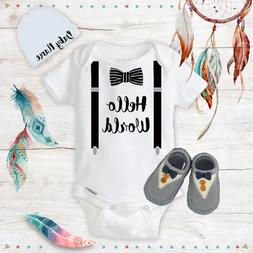Hello World Baby Boy Clothes Onesie Name Hat Soft Shoes Baby
