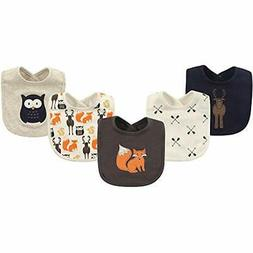 Hudson Baby Cotton Drooler Bib, 5 Pack, Woodland Creatures,