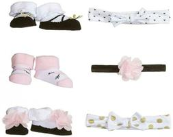 Hudson Baby Girl Socks and Headband Giftset 0-9 Months, Pink