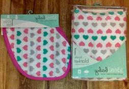 "Ideal Baby muslin blanket and Bib Hearts 42"" x 42"" by makers"
