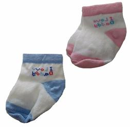 "Jefferies Socks Infant Baby ""I Love Daddy"" Pink Blue Socks 3"