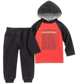 Calvin Klein Infant Boys Red Hooded Logo Top 2pc Pant Size 1