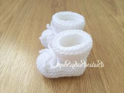 Knitted Baby Booties Baby Shoes Boys Girls Newborn Socks Whi