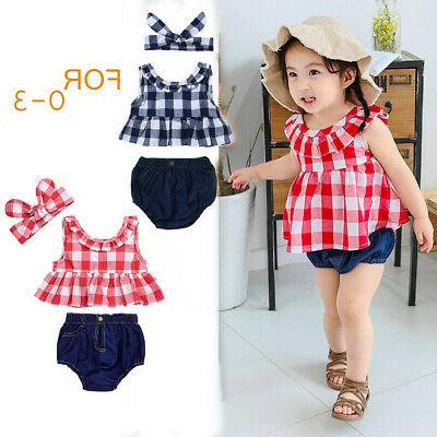 3pcs baby girl clothing set top triangle