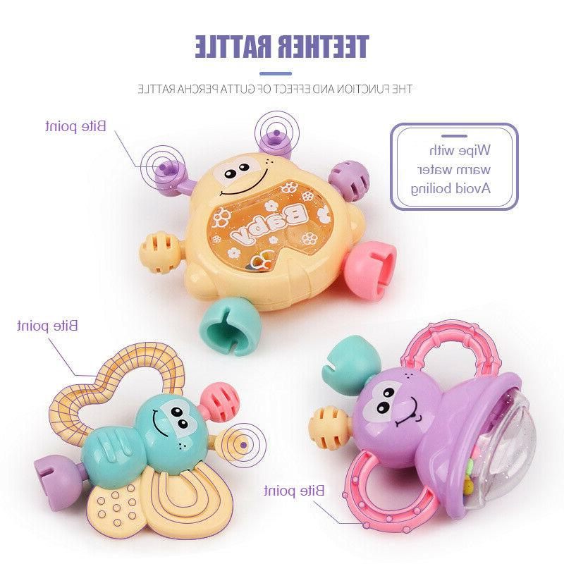 7Pcs Newborn Toddler Shaking Bell Rattles Teether Baby Hand Gift US