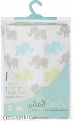 Aden Anais Ideal Baby Elephant Print Muslin Changing Pad Cov