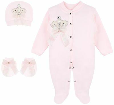baby girl jewels crown layette 3 piece